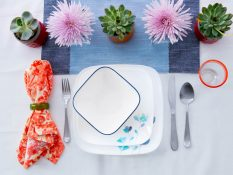 "Corelle's Dalena pattern was inspired by a trend we called ""Ethereal"", a dreamlike, watery floral on a contemporary shape"
